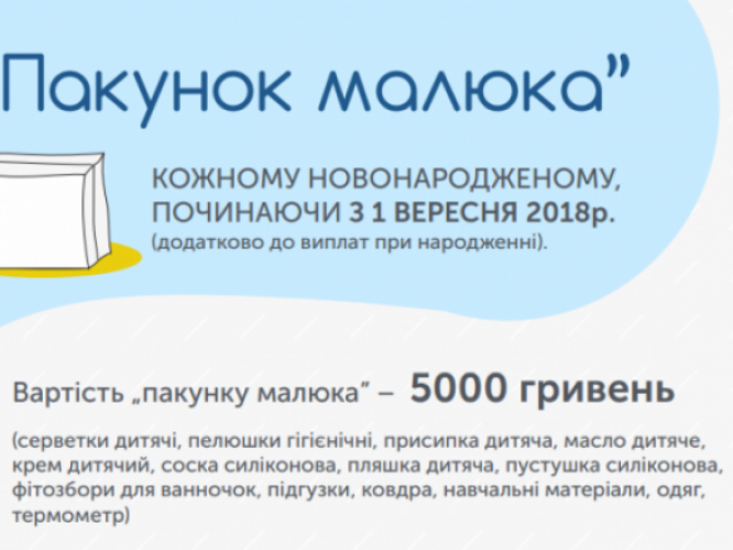 Вартість «Пакунку малюка» складає 5 тис. грн