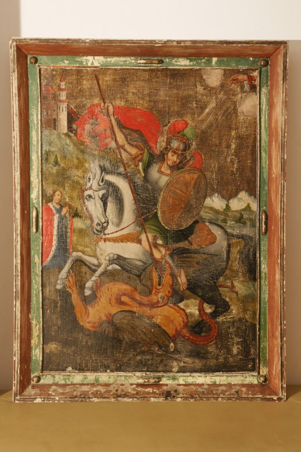 Юрій Змієборець. ХVІІІ ст., Майстер із Михнівки. Зберігається в Музеї волинської ікони в Луцьку.