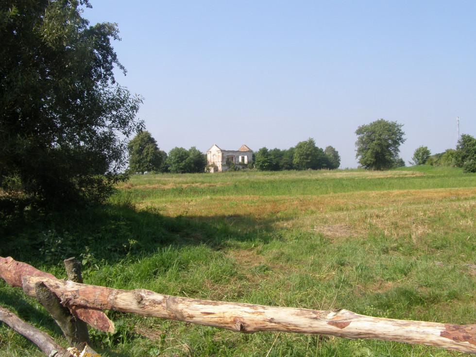 Ворокомле. Вдалині видніється напівзруйнована колишня родова каплиця Красицьких. Фото 2015 р.